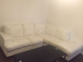 Leather White Corner sofa with good condition