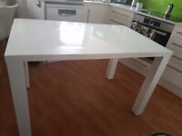 White gloss dining table + 4 faux white leather chairs