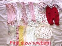 Girls newborn/first size clothes bundle
