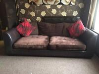 DFS 4 seater brown leather/fabric sofas