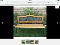 nice metal and wood bench lovely pattens