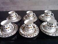Vintage Black Velvet Coffee Set