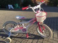 Girls Giant bike with stabilisers - 16 inch