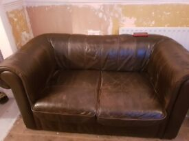 2 + 1 + 1 Brown Leather Sofa