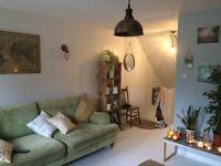 Lovely modern, large, lime green sofa