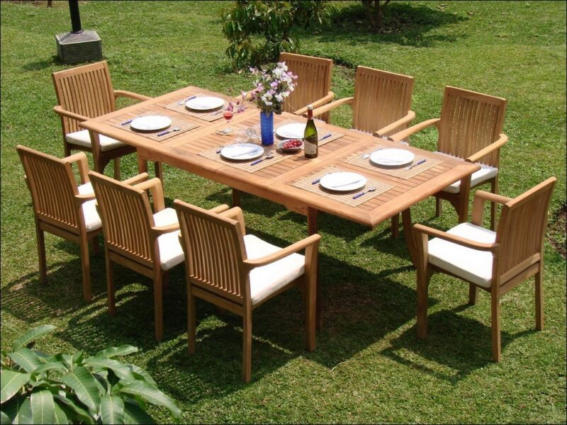 "7-piece Outdoor Teak Dining Set: 94"" Rectangle Table, 6 Stacking Arm Chairs Lua"