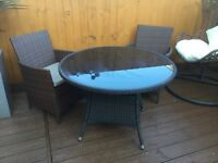 Rattan effect outdoor table and chairs