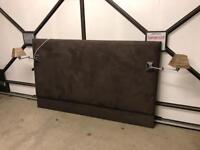 Super king brown suede headboard with bedside lamps