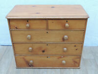 Victorian wooden antique 5 drawer chest (Delivery)