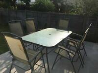 Grey garden dining set + 6 chairs
