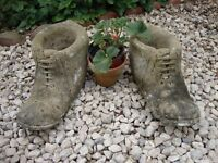 """Rustic Stone Boot Planters 14"""" long (Pair)."""
