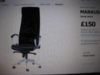 BLACK SWIVEL LEATHER CHAIR FROM IKEA