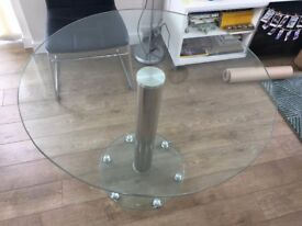 Modern round glass dining table, 90cm diameter