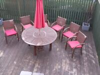Patio table with parasol & 6 chairs