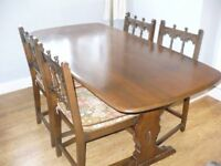 Ercol solid Mahogany Dining Table & Four Chairs in very good condition