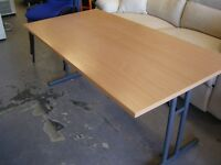 Fold Up Office Table or Desk in Light Wood Effect on Metal Frame