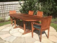 8 seat solid teak garden table and chairs for sale