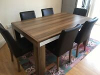 Great Condition Hardwood Dining Table Set with Six Chairs - from Doğtaş furniture