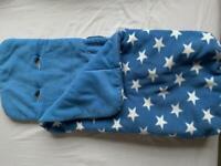 John Lewis Blue and white star foot muff for pram