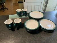 Denby Greenwich 4pc Dinner set. Perfect condition