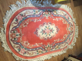 Chinese Style Oval Rug - In rose pink -Size 152cm x 98cm