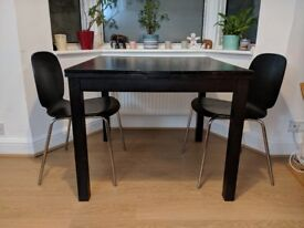IKEA Black Extendable Dining Table + 2 Chairs