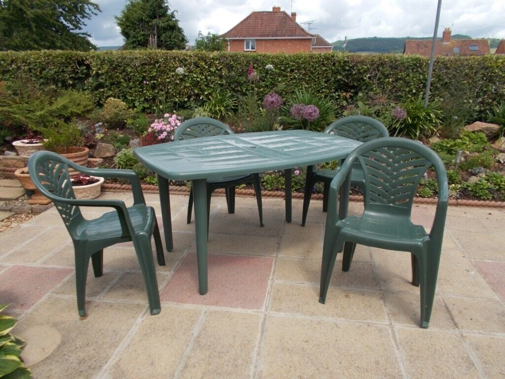 Stupendous Garden Furniture Sturdy Plastic Outdoor Dining Table And 4 Chairs In Taunton Somerset Gumtree Download Free Architecture Designs Rallybritishbridgeorg