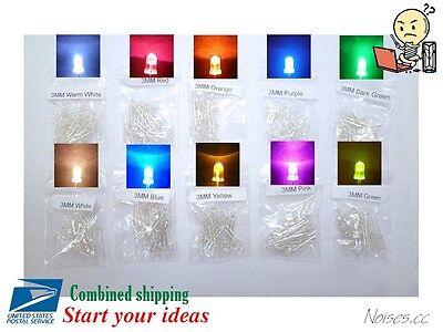 50pcs 3mm Round Led Light Bulb Emitting Diode Lamp 11 Colors Select Diy Maker