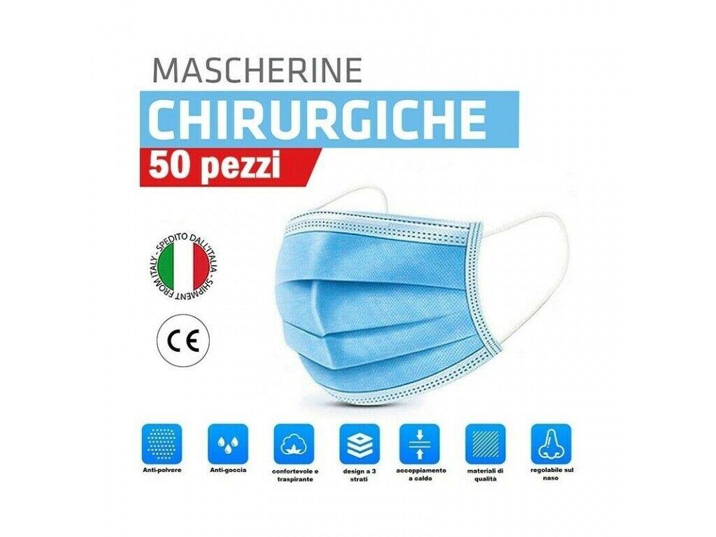 50 MASCHERINE PROTETTIVE VISO CHIRURGICHE MONOUSO MASCHERINA FACCIALE 3 STRATI