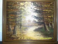 Vintage Oil painting signed T H Van Essen on canvas autumn country woodland scene