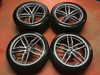 19'' GENUINE AUDI R8 + V8 V10 ALLOY WHEELS ALLOYS TYRES 5X112