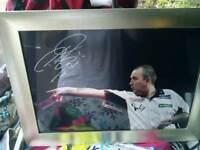 Signed Phil Taylor framed photo darts memorabilia