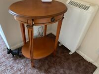 Small wood telephone/ lamp Table with drawer and lower shelf