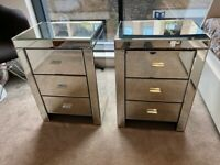 Pair of Mirrored Bedside Tables - Available 31 October.