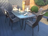 Rattan style patio table and chairs