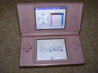 Nintendo DS Lite - Pink, Case, Charger and 14 games. Very Good condition