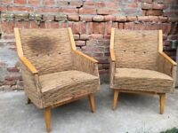 RETRO Timber Framed Set of Easy Chairs Eye-catching Design German Mid-Century