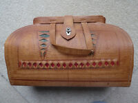 Vintage Tooled Brown Bag With Inside Pocket