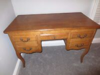 French solid oak desk / dressing table