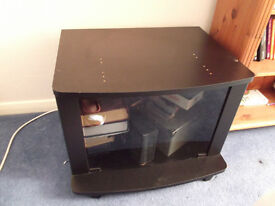 Black TV Unit with Glass Doors