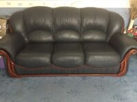3 seater sofa & 2 arm chairs Blue leather