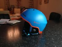 Cairns Centaure men's ski helmet in light blue and flame orange worn for one week only