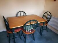 Pine/Green Dining table and 4 chairs