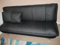 Bonded leather black sofa bed