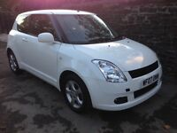 Suzuki Swift 2007, 1.3 petrol, 3 door, white, 70k miles, new MOT, a/c, e/w, CD Player