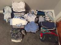 Large bundle of baby boys clothes 0-6 months