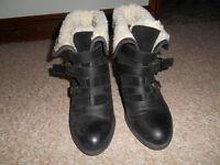 "Carvela Women's Black Ankle Boot with ""Fleece"" Trim - Size 40"