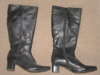 Ladies Black leather boots. Size UK6