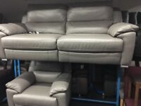 New/Ex Display Grey Reid Apsley 3 Seater Electric Recliner + Seater Recliner Chair Sofas