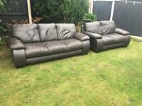 Brown leather 3&2 seater sofas fantastic condition can deliver today